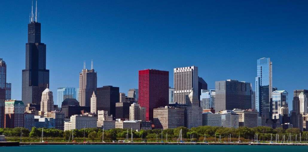 Image of Chicago skyline at summer day.